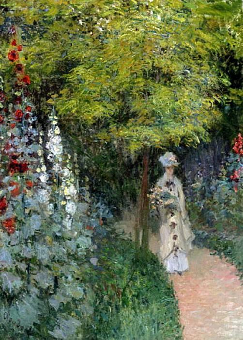 The Garden, Hollyhocks. Claude Oscar Monet