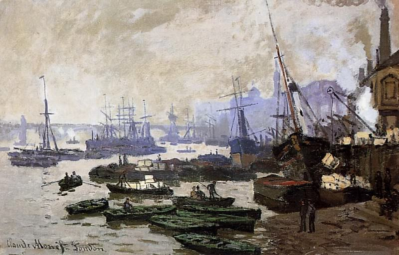 Boats in the Port of London. Claude Oscar Monet