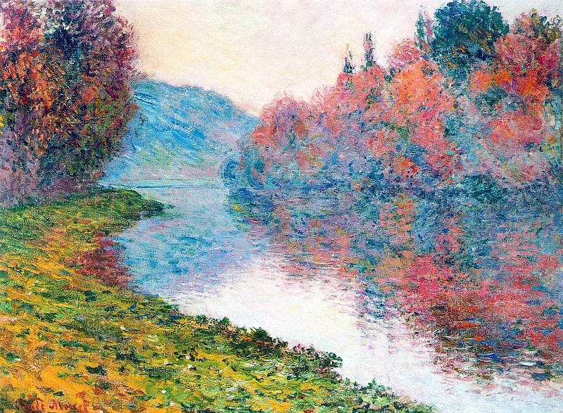 Banks of the Seine at Jenfosse - Clear Weather. Claude Oscar Monet