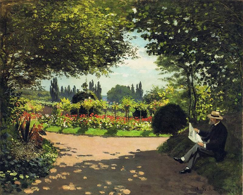 Adolphe Monet Reading in the Garden. Claude Oscar Monet