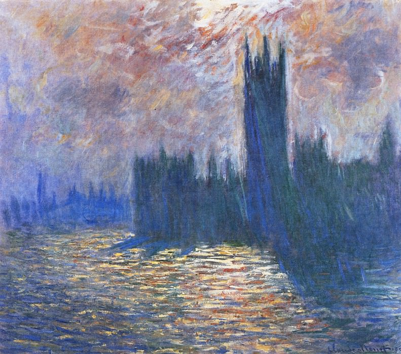 Houses of Parliament, Reflection of the Thames. Claude Oscar Monet