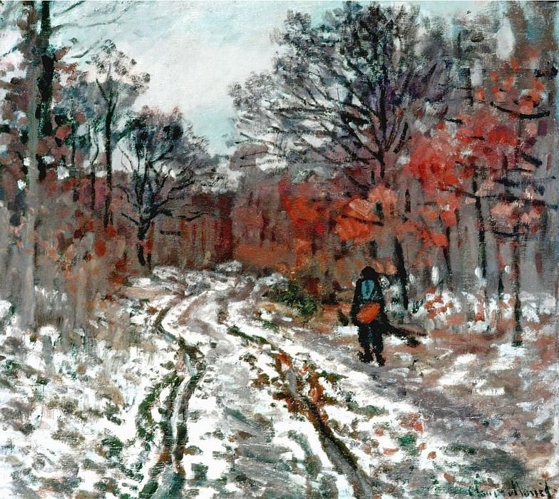 Path through the Forest, Snow Effect. Claude Oscar Monet