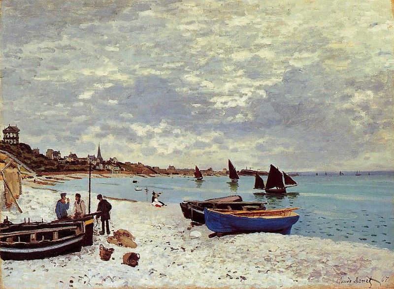 The Beach at Sainte-Adresse. Claude Oscar Monet