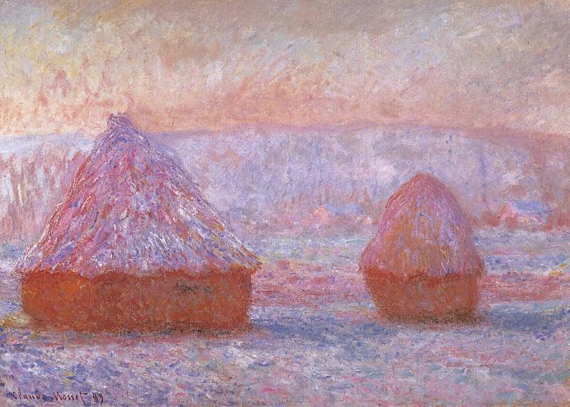 Grainstacks at Giverny, Morning Effect. Claude Oscar Monet