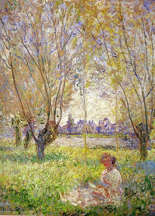 Woman Sitting under the Willows. Claude Oscar Monet