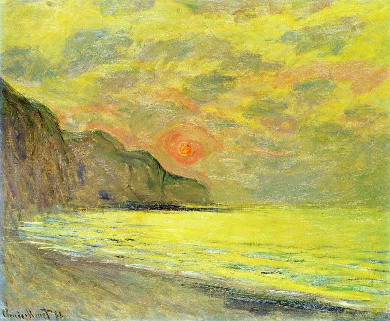 Sunset, Foggy Weather, Pourville. Claude Oscar Monet