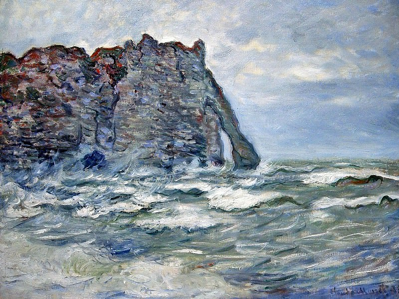 Port d`Aval, Rough Sea. Claude Oscar Monet