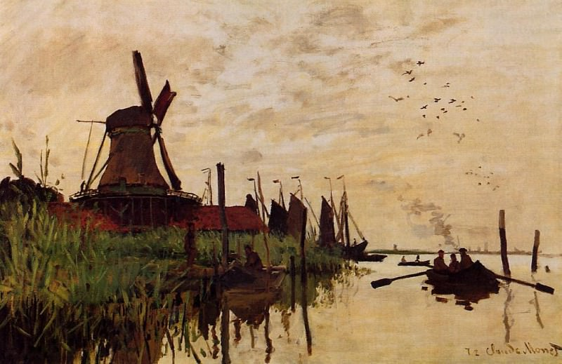 Windmill at Zaandam, 1871 01. Claude Oscar Monet
