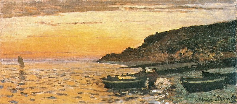 Seacoast at Saint-Adresse, Sunset. Claude Oscar Monet