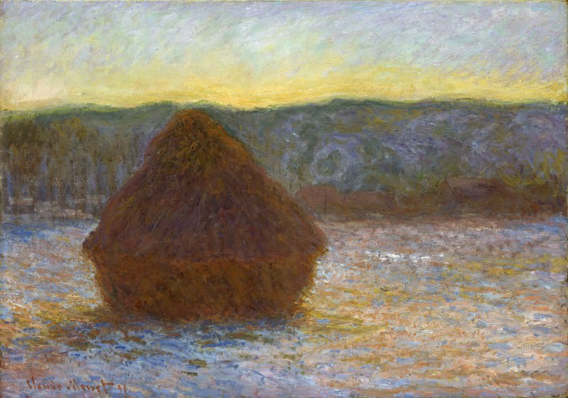 Grainstack, Thaw, Sunset. Claude Oscar Monet