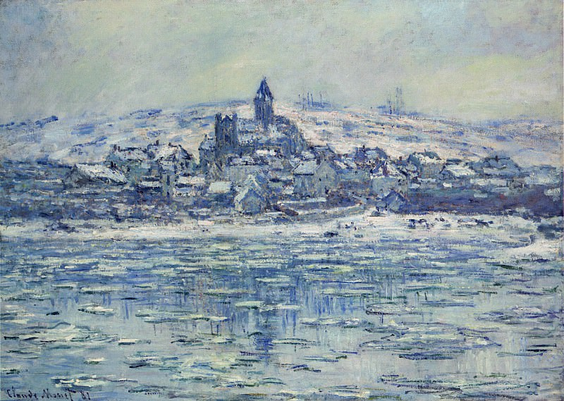 View of Vetheuil, Ice Floes. Claude Oscar Monet