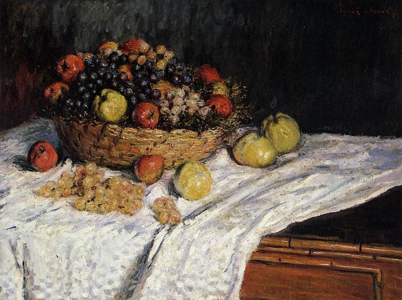 Fruit Basket with Apples and Grapes. Claude Oscar Monet