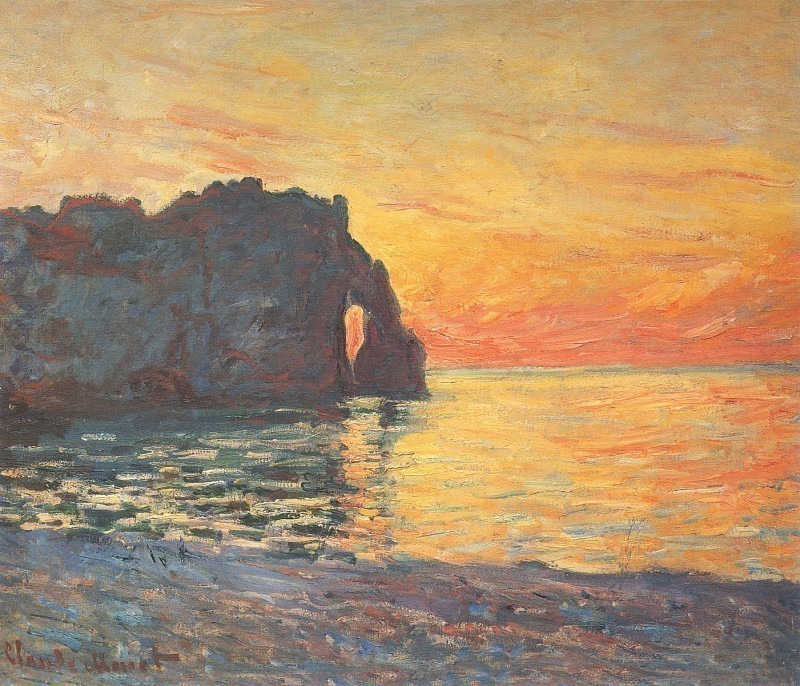 Etretat, Cliff of d`Aval, Sunset. Claude Oscar Monet