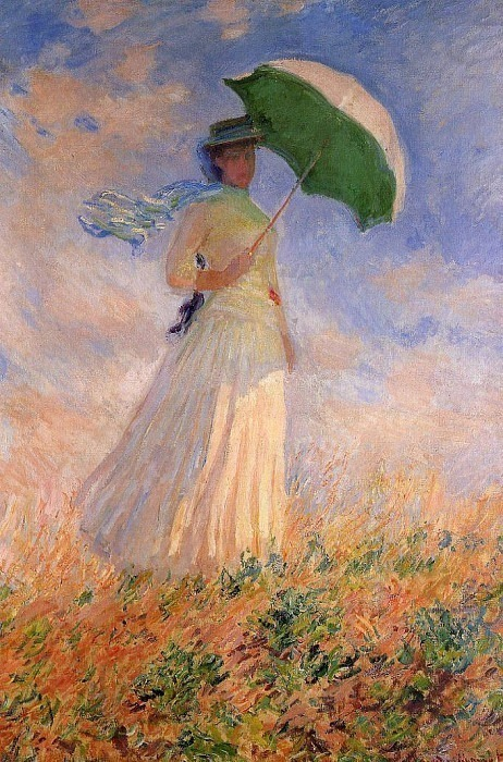 Woman with a Parasol, Facing Right (also known as Study of a Figure Outdoors (Facing Right)). Claude Oscar Monet
