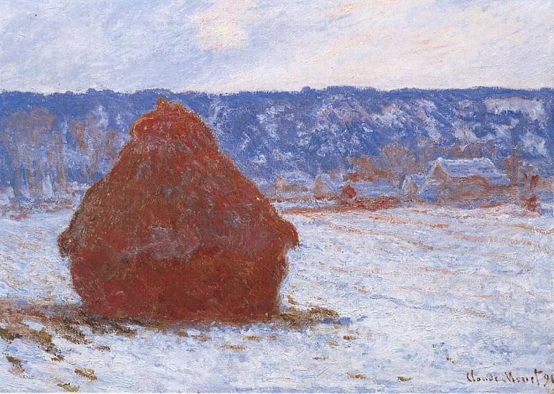 Grainstack in Overcast Weather, Snow Effect. Claude Oscar Monet