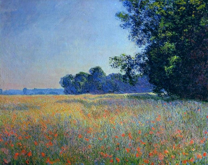 Oat and Poppy Field, Giverny. Клод Оскар Моне