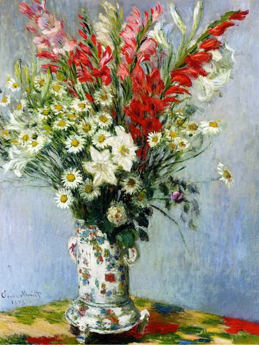 Bouquet of Gadiolas, Lilies and Dasies. Клод Оскар Моне