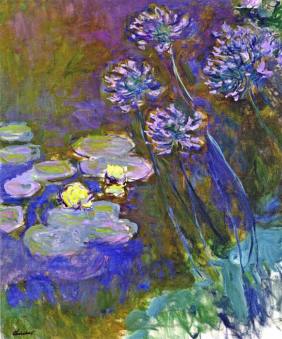 Water Lilies and Agapanthus. Claude Oscar Monet