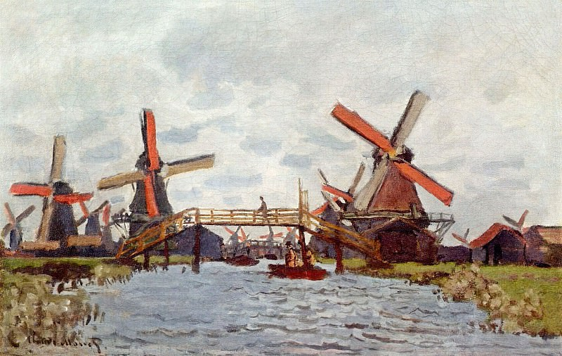 Windmills near Zaandam. Claude Oscar Monet