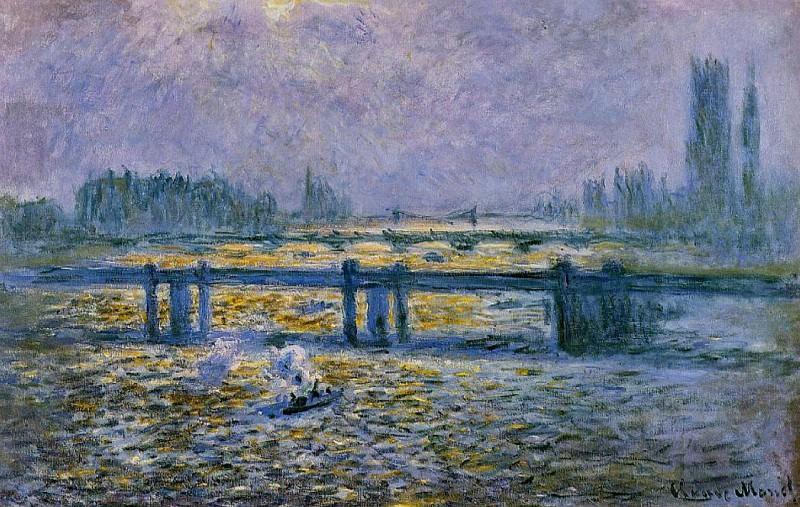 Charing Cross Bridge, Reflections on the Thames. Claude Oscar Monet