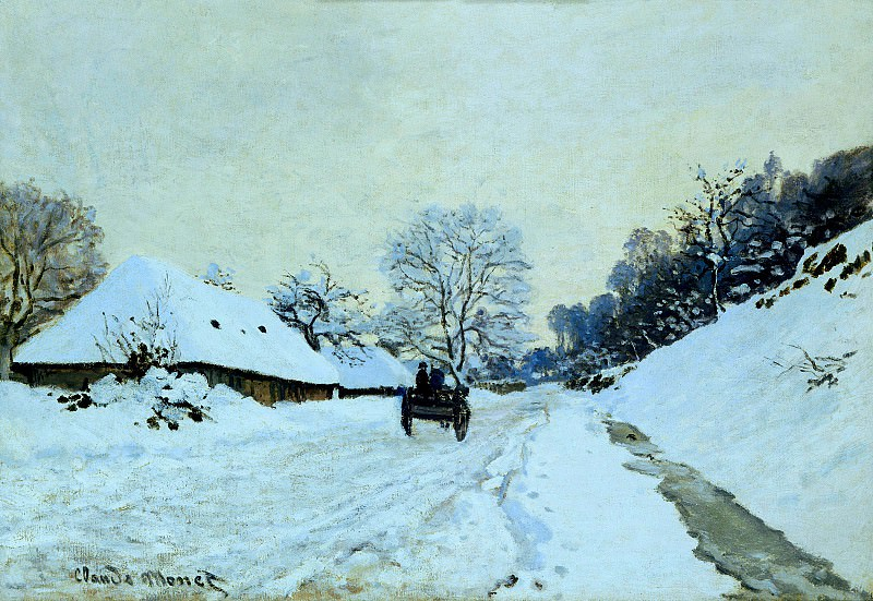 Cart on the Snow Covered Road with Saint-Simeon Farm. Claude Oscar Monet