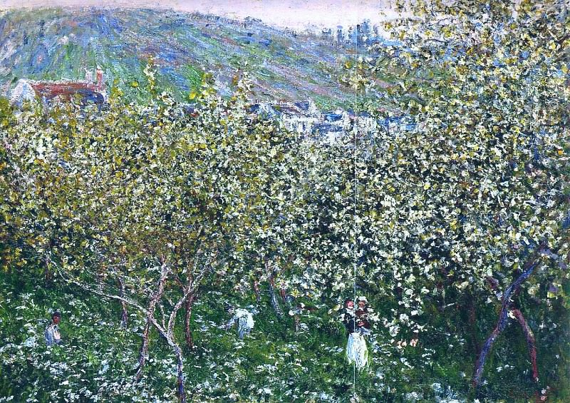 Vetheuil, Flowering Plum Trees. Claude Oscar Monet