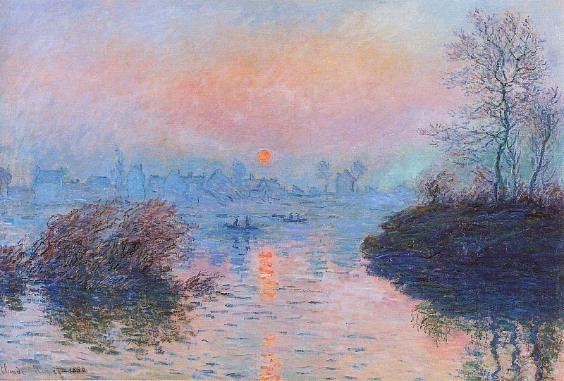 Sunset on the Seine at Lavacourt, Winter Effect. Claude Oscar Monet