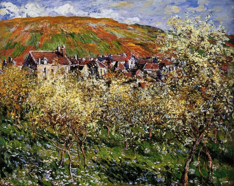 Plum Trees in Blossom at Vetheuil. Claude Oscar Monet