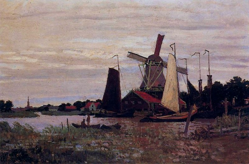 Windmill at Zaandam, 1871 02. Claude Oscar Monet