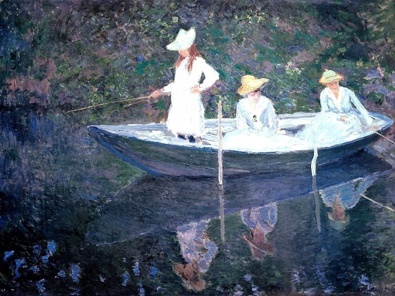 In the Norvegienne Boat at Giverny. Claude Oscar Monet