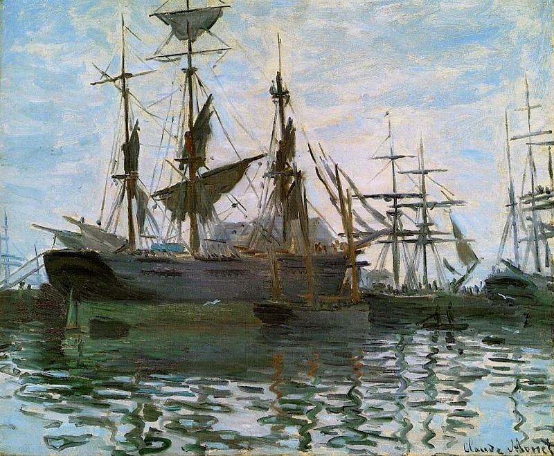 Ships in Harbor. Claude Oscar Monet