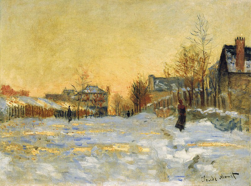 Snow Effect, The Street in Argentuil. Claude Oscar Monet