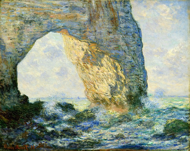 The Manneport, Rock Arch West of Etretat. Claude Oscar Monet