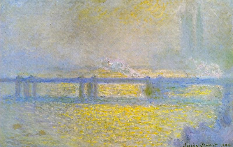 Charing Cross Bridge, Overcast Weather. Claude Oscar Monet