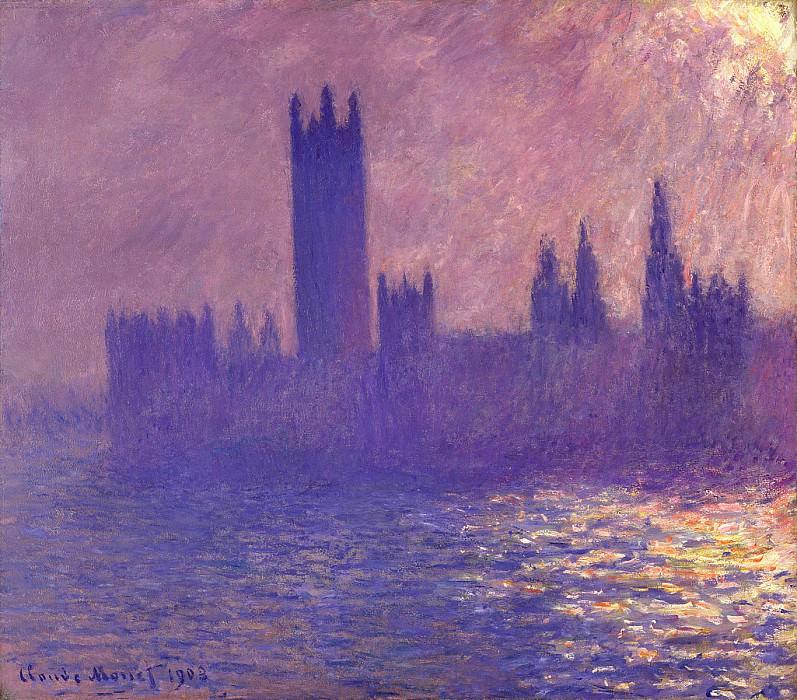 Houses of Parlilament, Sunlight Effect. Claude Oscar Monet