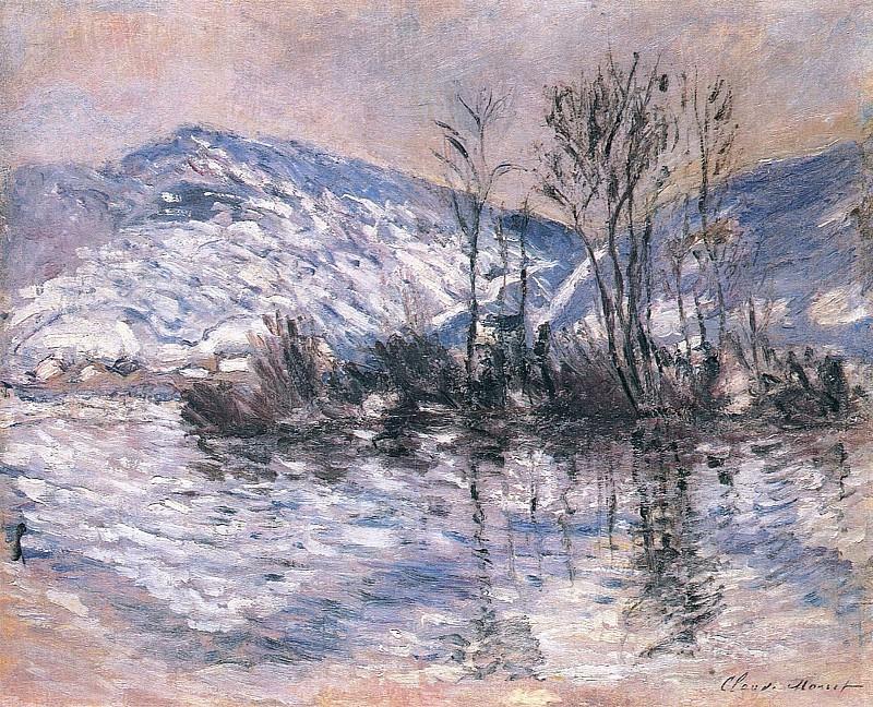The Seine at Port Villez, Snow Effect 02. Claude Oscar Monet