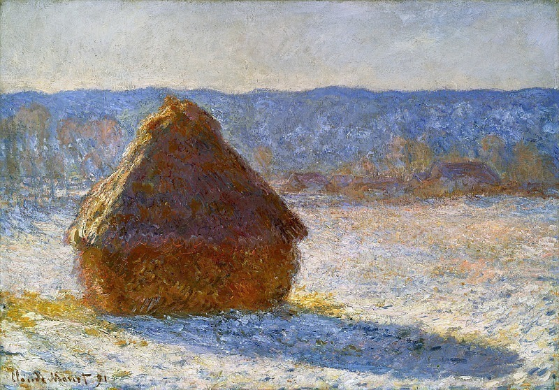 Grainstack in the Morning, Snow Effect. Claude Oscar Monet