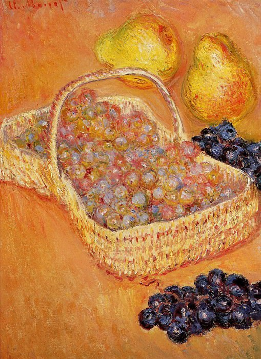 Basket of Graphes, Quinces and Pears. Claude Oscar Monet
