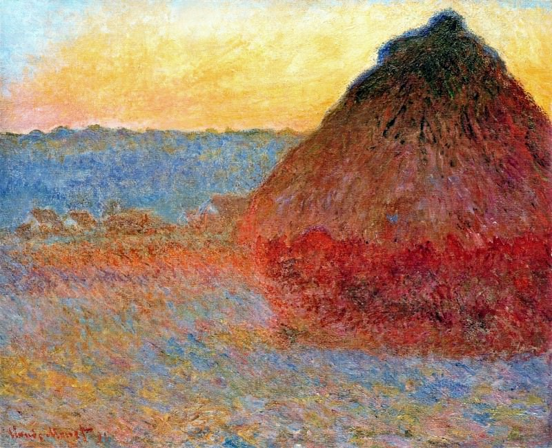 Grainstack, Impression in Pinks and Blues. Claude Oscar Monet