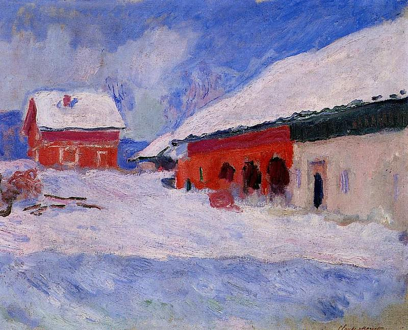 Red Houses at Bjornegaard in the Snow, Norway. Claude Oscar Monet