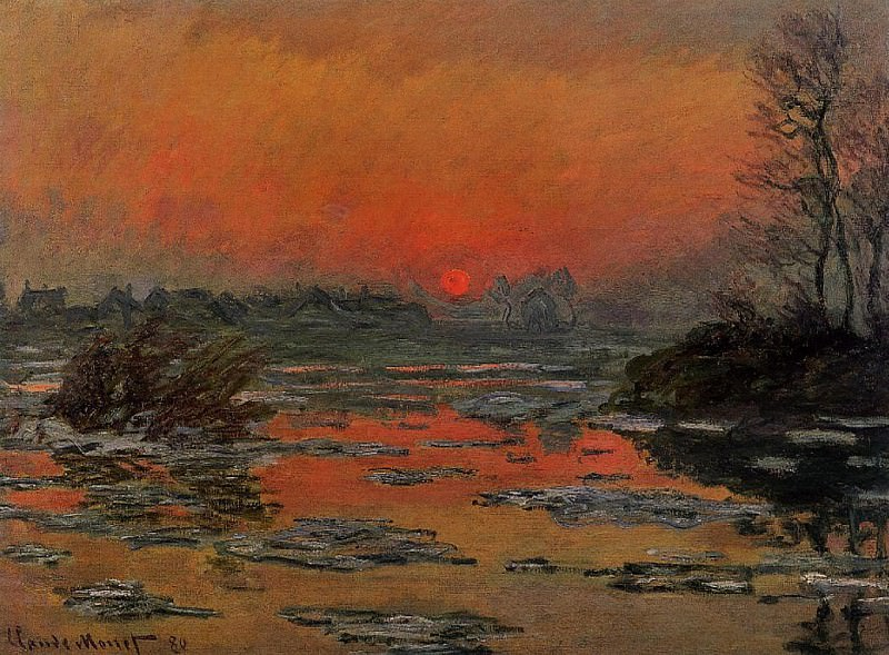 Sunset on the Seine in Winter. Claude Oscar Monet