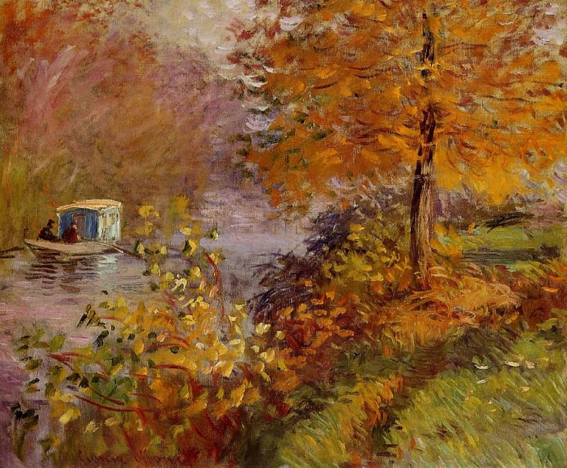 The Studio Boat. Claude Oscar Monet