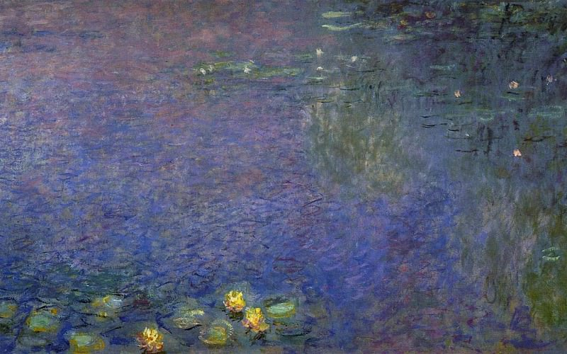 Water Lilies, Morning (right-center detail). Claude Oscar Monet