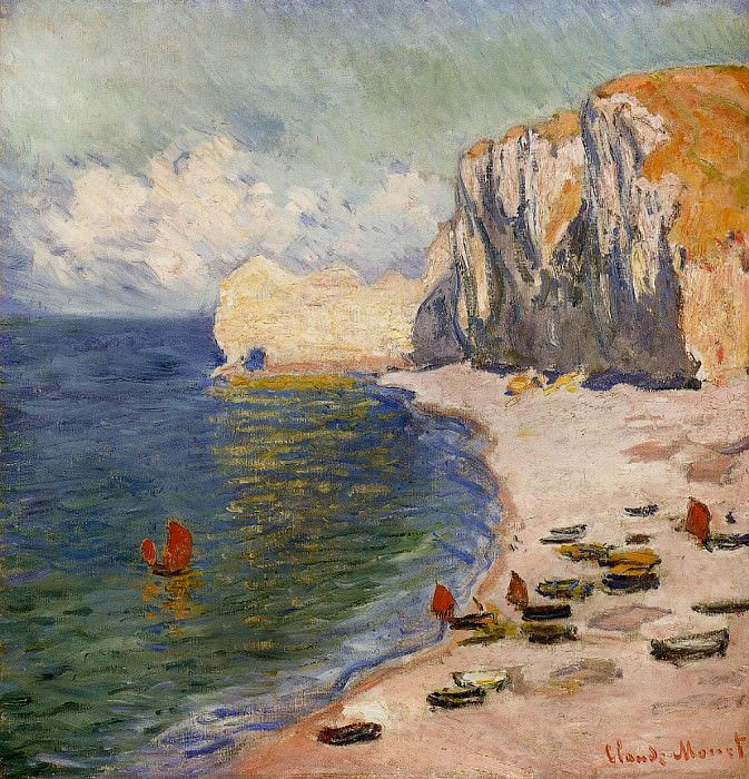 The Beach and the Falaise d'Amont. Claude Oscar Monet