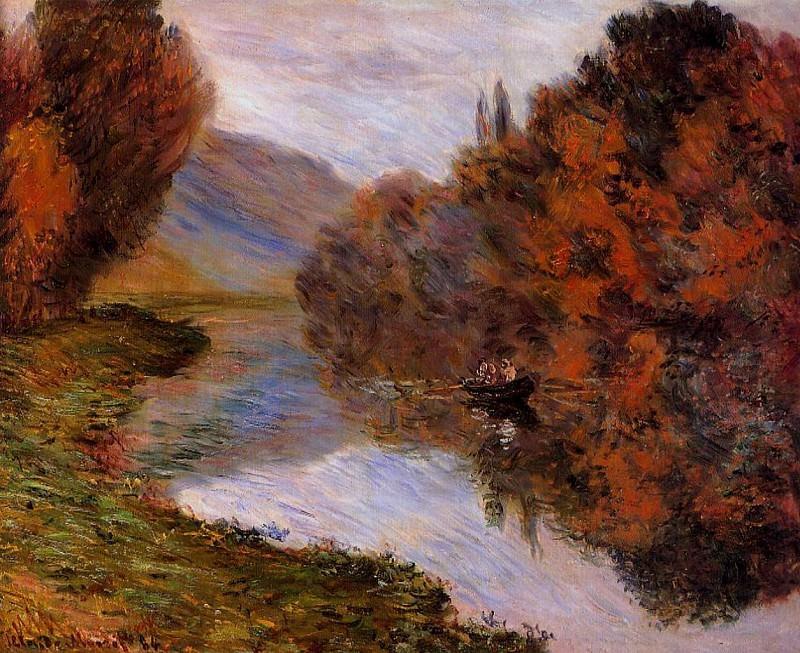 Rowboat on the Seine at Jeufosse. Claude Oscar Monet