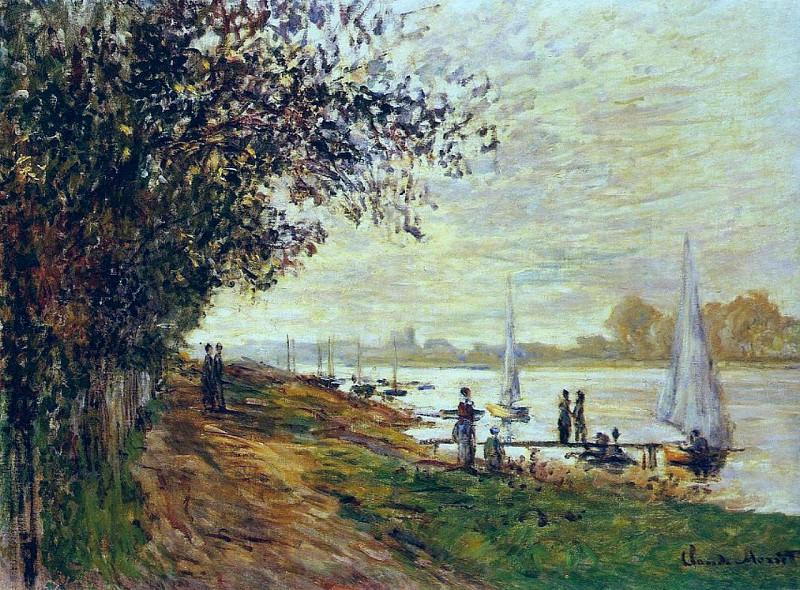 The Riverbank at Le Petit Gennevilliers, Sunset. Claude Oscar Monet