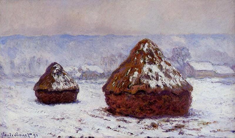 Grainstacks, Snow Effect. Claude Oscar Monet