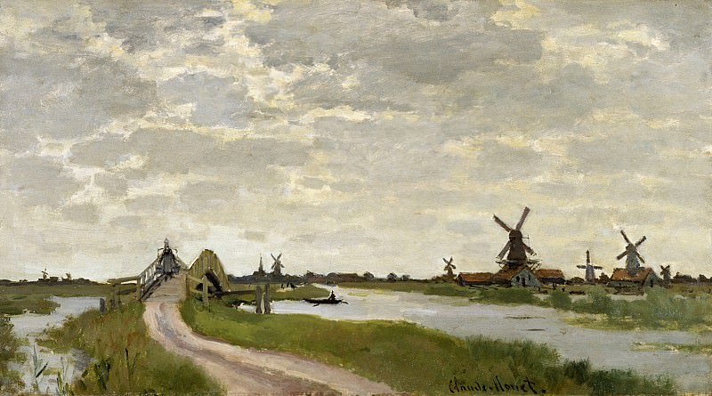 Windmills at Haaldersbroek, Zaandam. Claude Oscar Monet