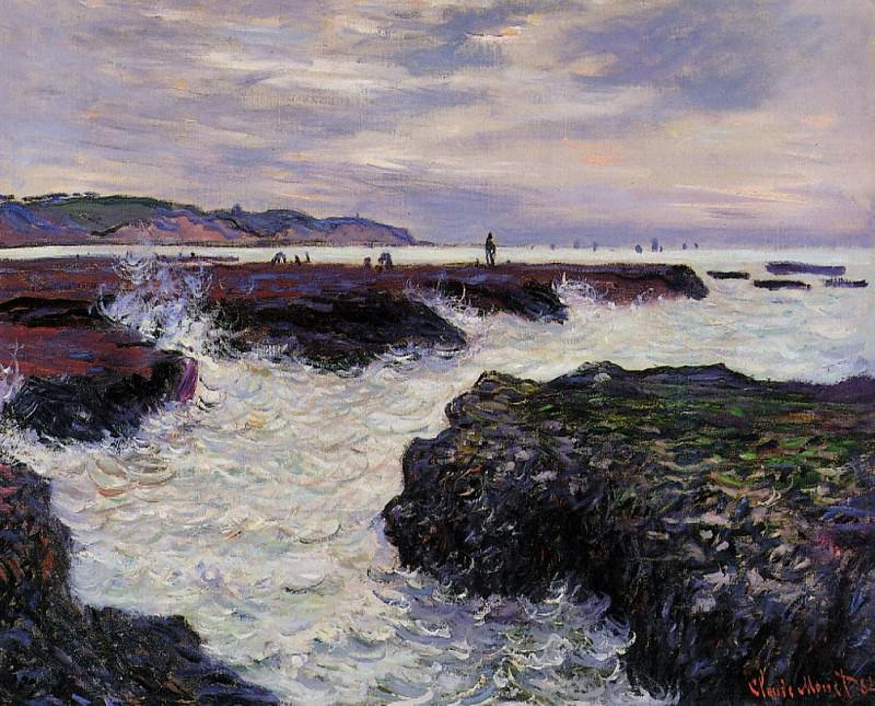 The Rocks at Pourville, Low Tide. Claude Oscar Monet