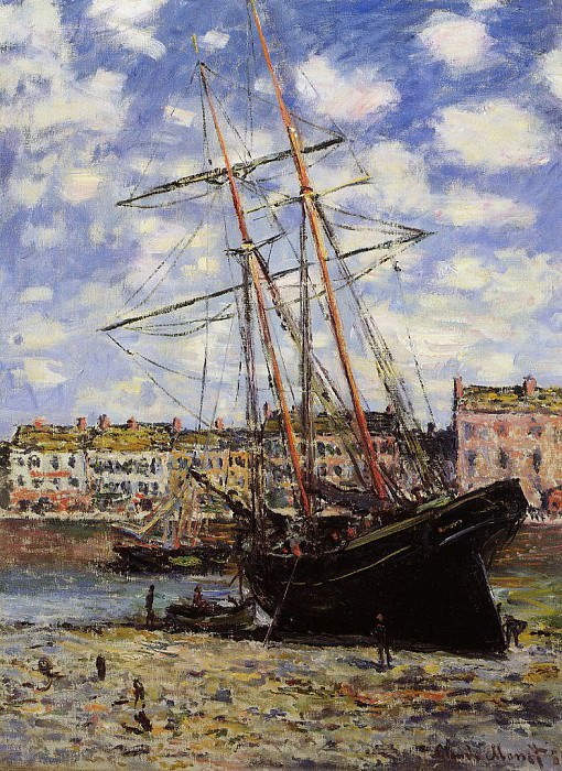 Boat at Low Tide at Fecamp. Claude Oscar Monet